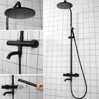 Black Thermostatic Shower Faucets Wall Mounted Hot Cold Shower Mixer Taps Rainfall Shower Set Waterfall Bathroom Rain Mixers
