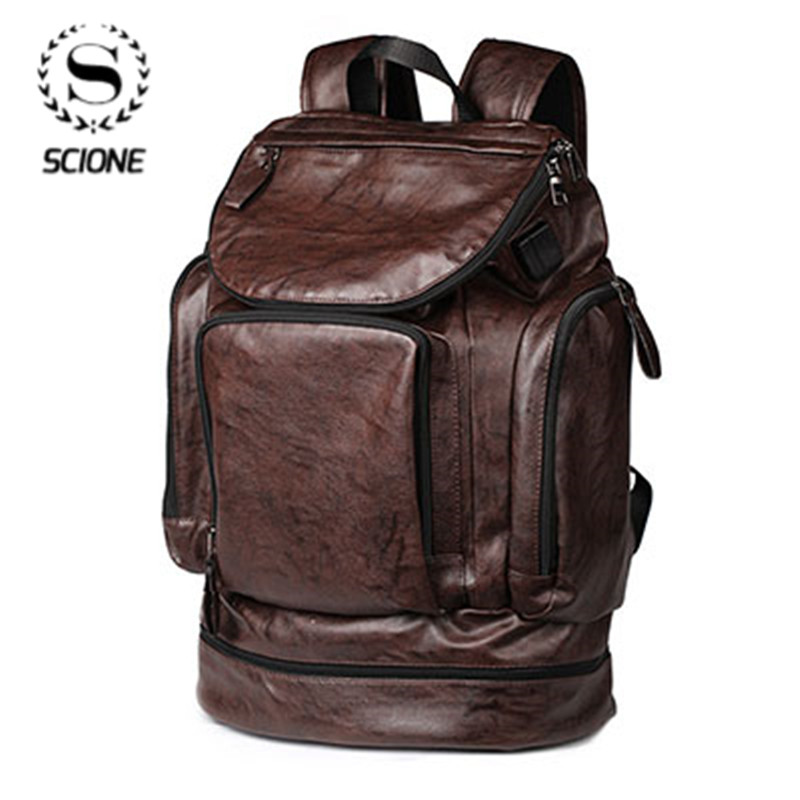 Scione Waterproof Backpack Men PU Leather Backpack Travel Casual School Bag Male Functional Big Capacity Bookbag