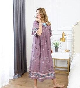 Image 4 - Lato panie bawełna, jedwab długi Plus rozmiar bielizna nocna księżniczka koszula nocna może nosić poza salon wakacje podróży plaży sukienka