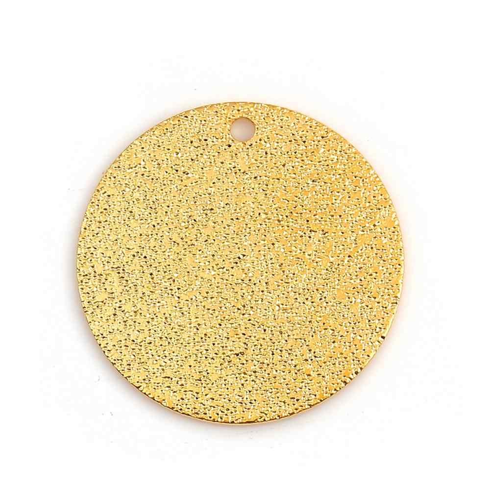 DoreenBeads ทองแดงแฟชั่น Charms รอบ Sparkledust รูปแบบจี้ของขวัญเครื่องประดับ DIY 20 MM DIA., 2 PCS