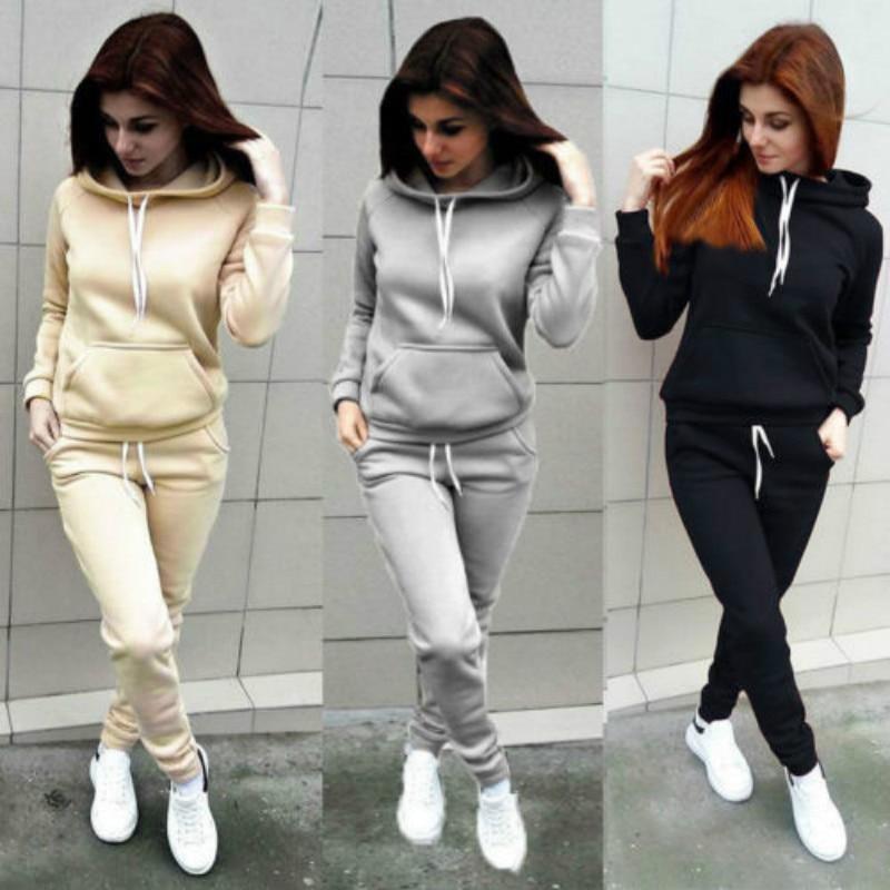 Solid Women Tracksuit Casual Hoodies Sweatshirt Pant Set Lounge Wear Sport Suit 2PCS Autumn Winter Clothes 4