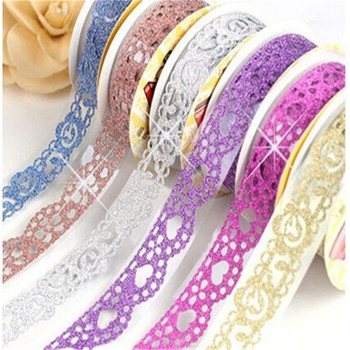 1pcs 1m Kawaii Glitter Matte Lace Tape Book Decor Washi Scrapbooking Card Adhesive Paper Sticker DIY Craft Gift