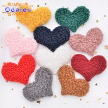 40Pcs Soft Red Heart Appliques Multicolor Teddy Plush Love Sewing Patches Crafts Clips Headwear Leggings Hair Bow Supplies