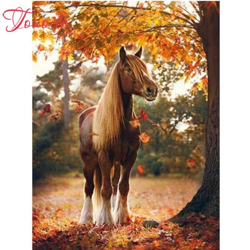 """מלא כיכר יהלומים 5D DIY יהלומי ציור """"סוס & סתיו מייפל גרוב"""" רקמת צלב סטיץ ריינסטון פסיפס ציור מתנה"""