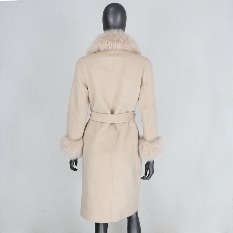 2021X-Long Natural Mongolia Sheep Real Fur Coat Autumn Winter Jacket Women Double Breasted Belt Wool Blends Overcoat Streetwea