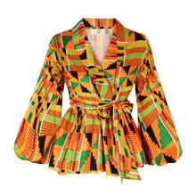 Sexy V Neck Lantern Sleeve Shirt Women African Clothes 2021 Fashion African Dashiki Print Shirt Party African Dresses for Women