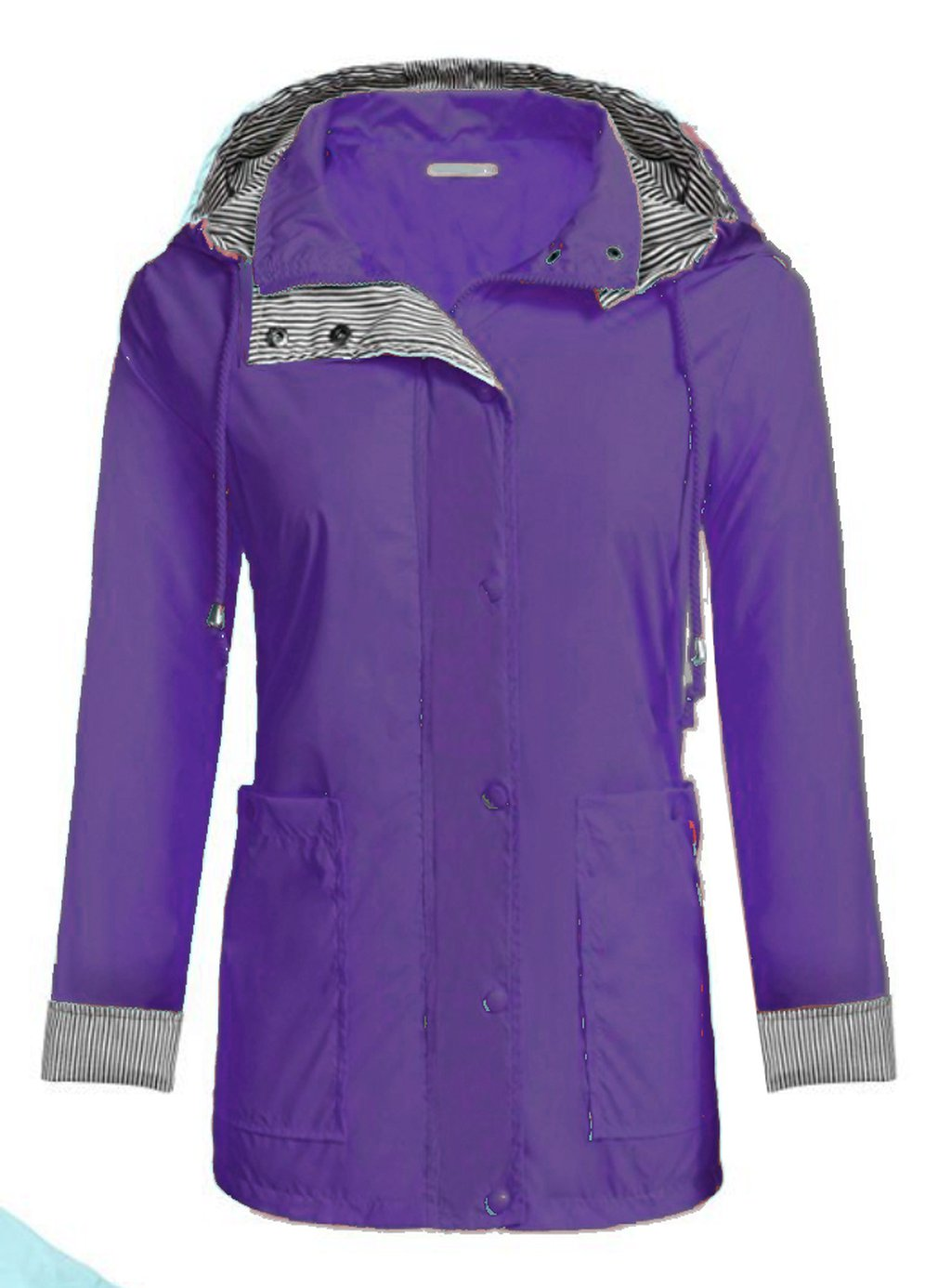 Lightweight Women Hooded Raincoat With 2 Big Pockets Long Sleeve Waterproof Zipper Rain Jacket Outdoor Rainwear