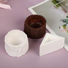 Tree Stump Triangle Shape Flower Pot Molds Concrete Silicone Mold for Succulent Plants Flower Pot Mould Cement Vase Tool