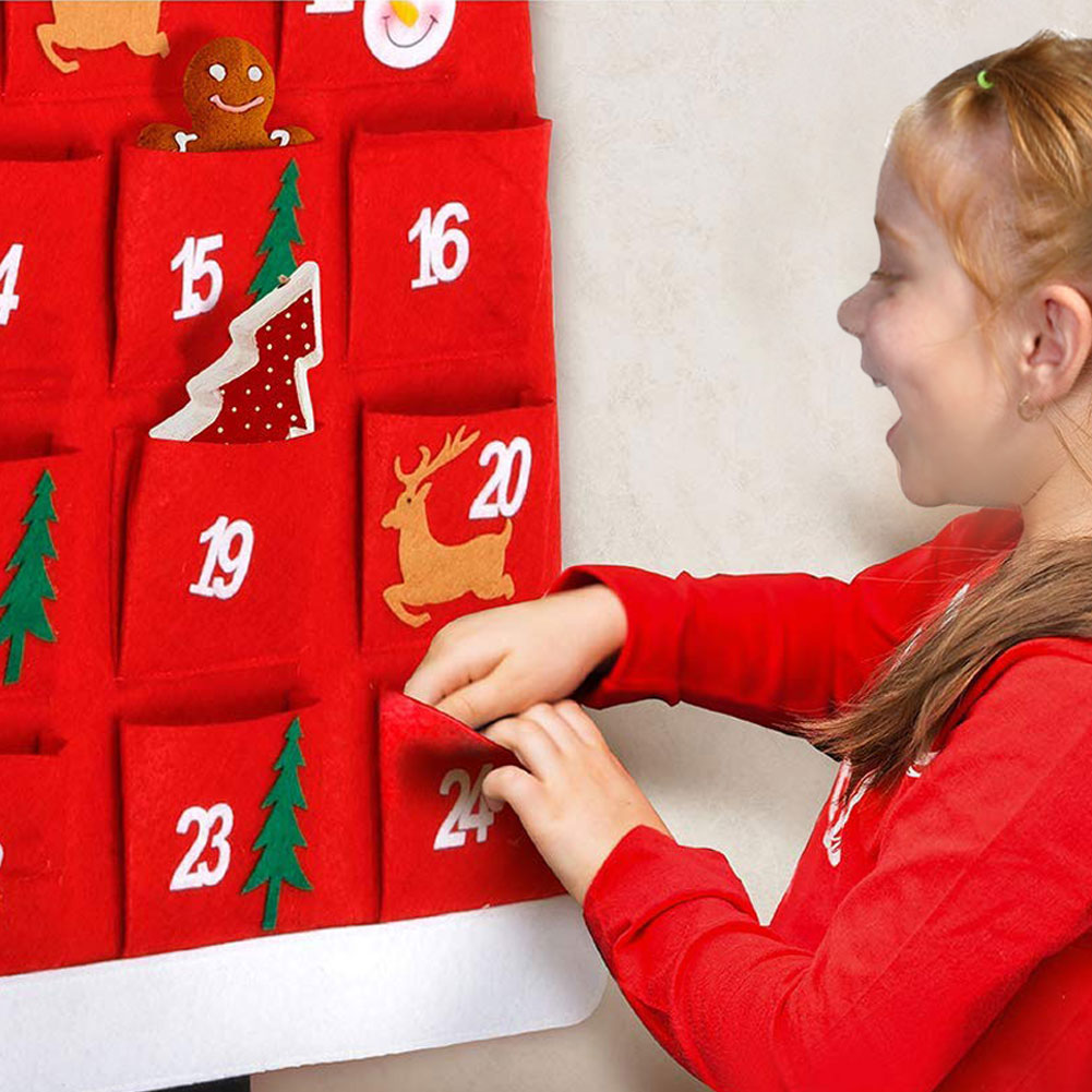 Calendar Advent With 24 Days Pockets Xmas Countdown Calendar For Kids Home Door Wall Decor