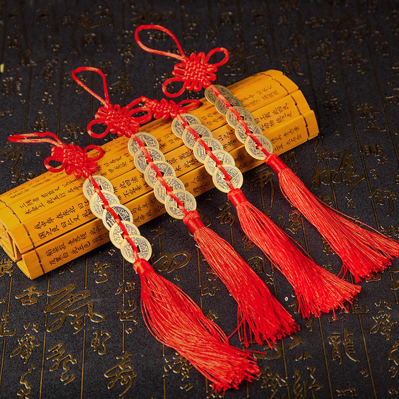 Besegad 2 pièces fait à la main chinois noeud gland pendentif avec 5 pièces Feng Shui pièces richesse succès porte-bonheur maison voiture cintre décors