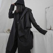 Trench-Coat Windbreaker Streetwear Autumn Women New LANMREM Irregular Mid-Length Solid