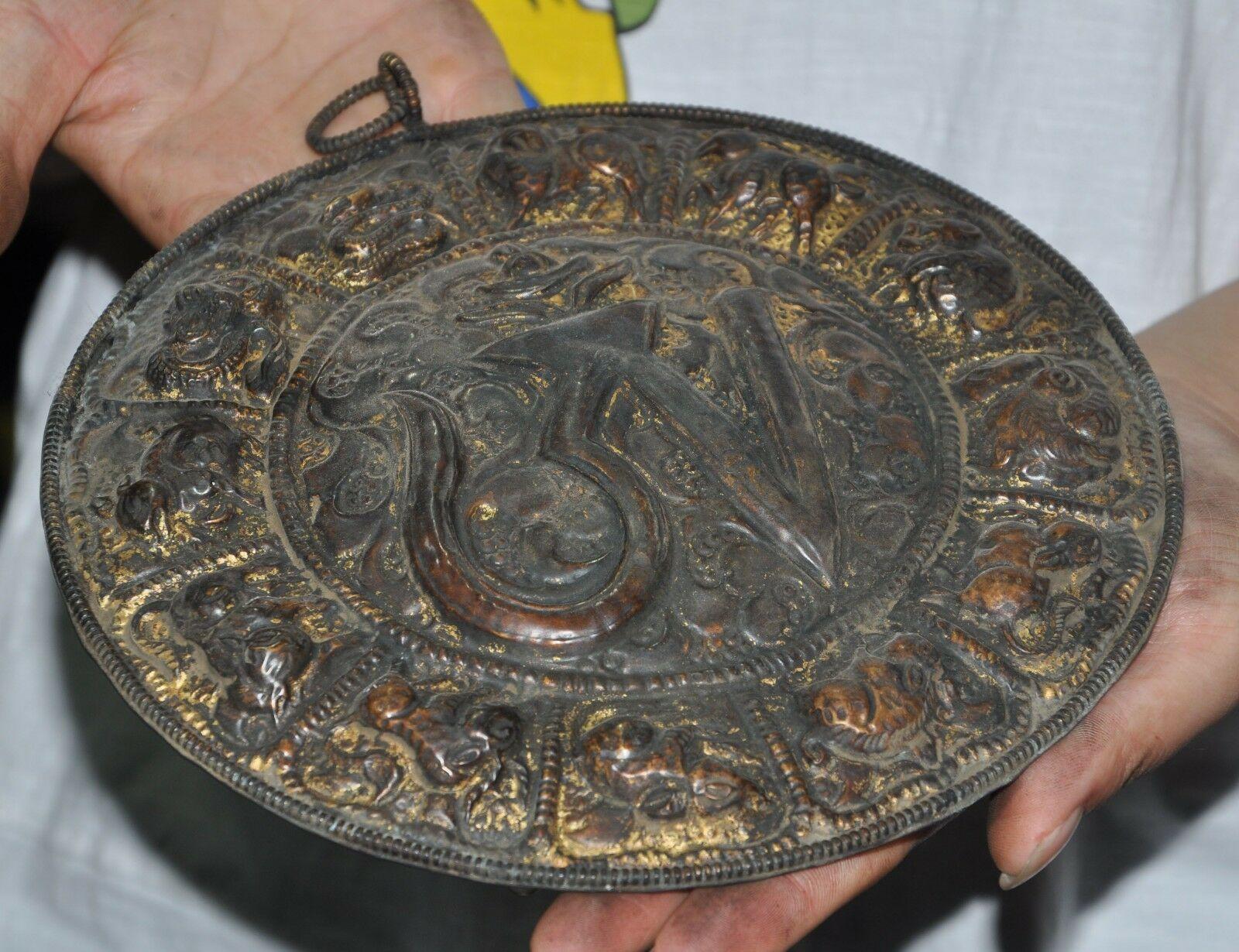 Свадебные украшения 8 Старый тибетский буддизм, бронзовый позолоченный знак зодиака животных Сутра настенный Tangka - 5