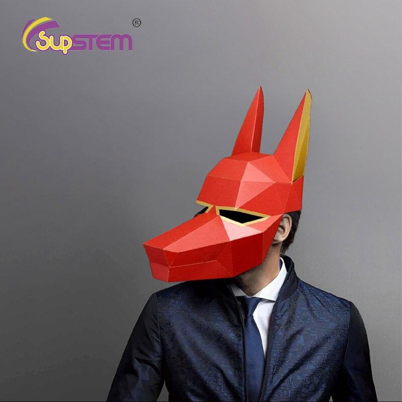 DIY Paper Masks Face Masks Toys 3D Devil Cosplay Paper Craft Model Costume Halloween Party Gift Cool Prank Toys