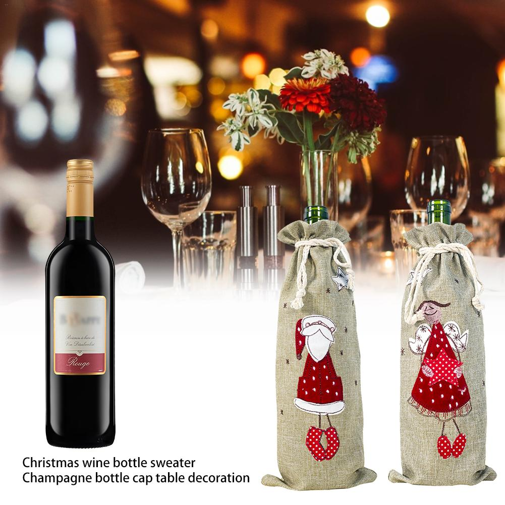 2pcs/set Christmas Decorations Wine Bottle Sweater Cover Bag Santa Claus Knitting Hats For New Year Xmas Home Dinner Party Decor