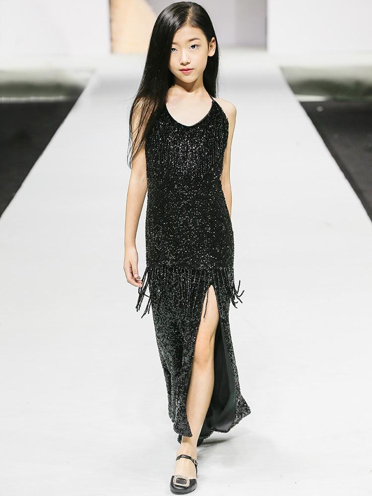 CHILDREN'S Dress GIRL'S Black Costume 2019 Autumn New Style Big Boy Fashion Slit Formal Dress GIRL'S Catwalks