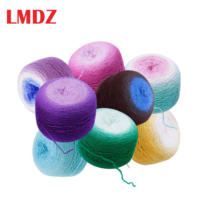 LMDZ 1Pcs  Melange Yarn 100% Wool Knitting Yarn For Knitting Colorful Rainbow Color  Yarn Soft Crochet Wool Yarn 150g/600m