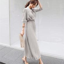 Hzirip 2020 novo vestido de outono feminino ol elegante manga longa com decote em v senhora do escritório a linha de trabalho usar vestidos plissados plus size