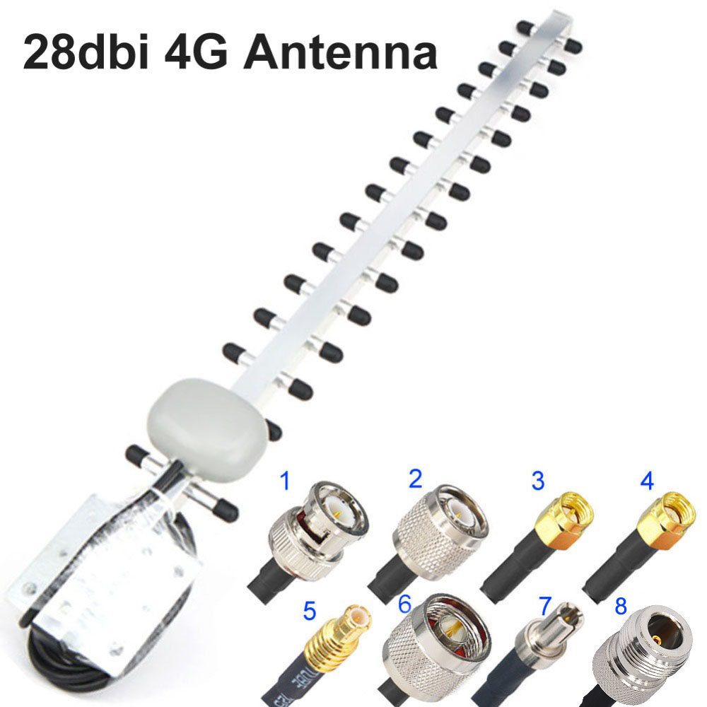 28dbi 4G Antenna Yagi Antenna 4G LTE TS9 MCX N Male N Female TNOutdoor Directional Booster Amplifier Modem RG58 1.5m