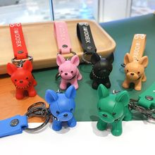 New 6 Colors French Bulldog Keychain PVC Puppy Pendant Fashion Animal Dog Car Keyring Cute Key Chains Jewelry Wholesale