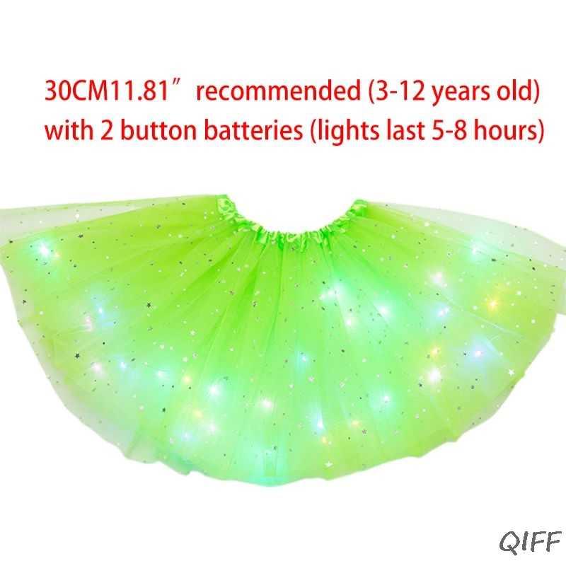 Anak Perempuan LED Light Up Bintang Glitter Payet Tari Balet Tulle Tutu Rok 3-12T