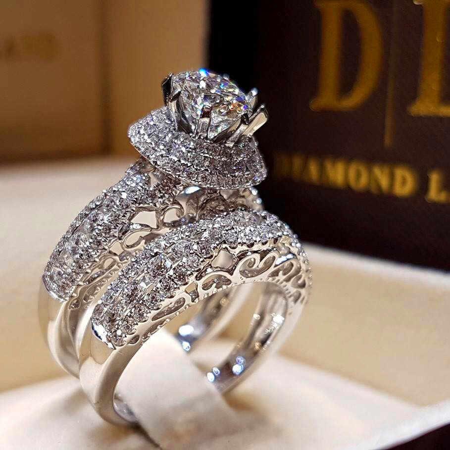 Kristal Perempuan Besar Zircon Stone Ring Set Fashion Luxury 925 Perak untuk Pengantin Pernikahan Janji Cinta Pertunangan Cincin