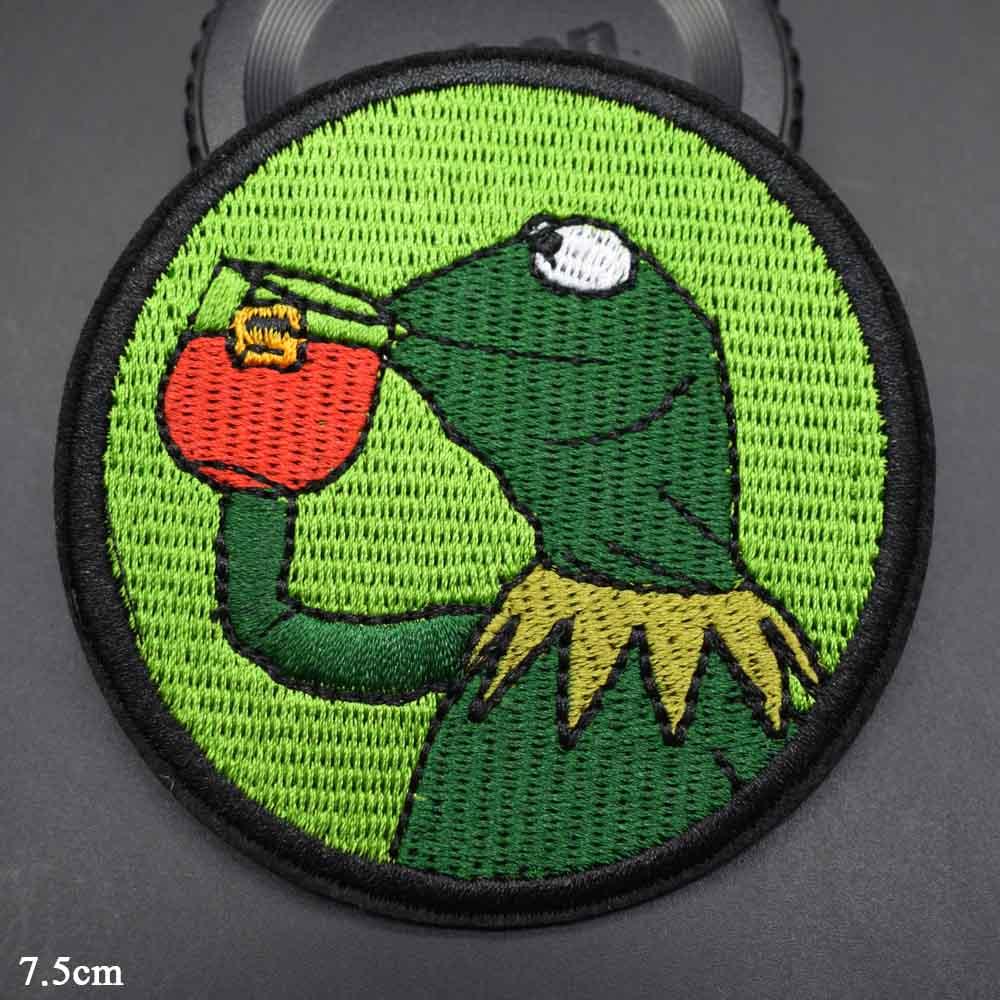 Симпатичная лягушка для напитков, вышитая утюгом нашивка для одежды, наклейки для одежды, оптовая продажа