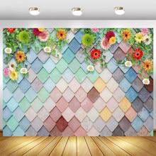 Laeaco kolor kwadratowy diament ściana z cegły wiosenny kwiat 3D wzór strony dziecko portret tło do zdjęć zdjęcie tła