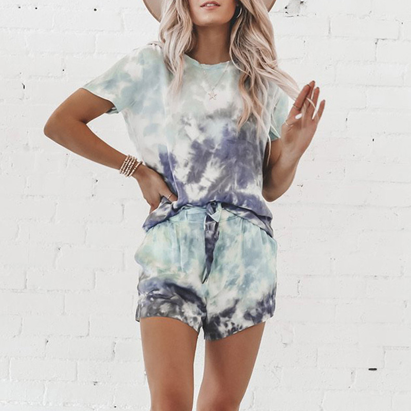 Women Casual Loose Tie Dye Colorful Clothing Sets Lady Short Sleeve Pullover Crew Neck Top +  High Waist Drawstring Shorts