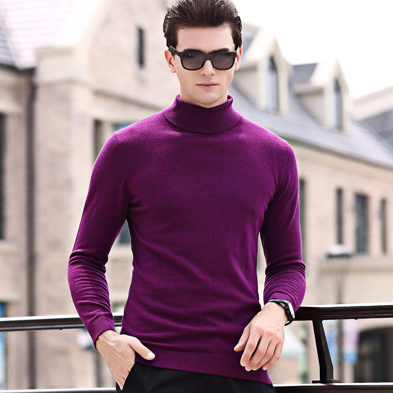 Men Turtleneck Cashmere Sweater Male 100% Wool Solid Color Slim Sweater  High Collar Sweater Pullovers