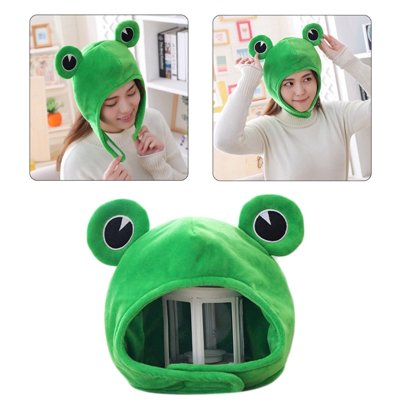 Funny Big Frog Eyes Cartoon Plush Hat Toy Green Headgear Cap Cosplay Costume Winter Festival Party Dress Up Photo Props
