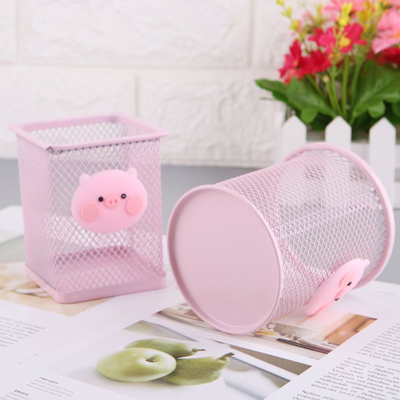Pen Holder Pink Metal Grid Container Large Capacity Multi-function Storage Box Girls Holiday Gifts AXYF