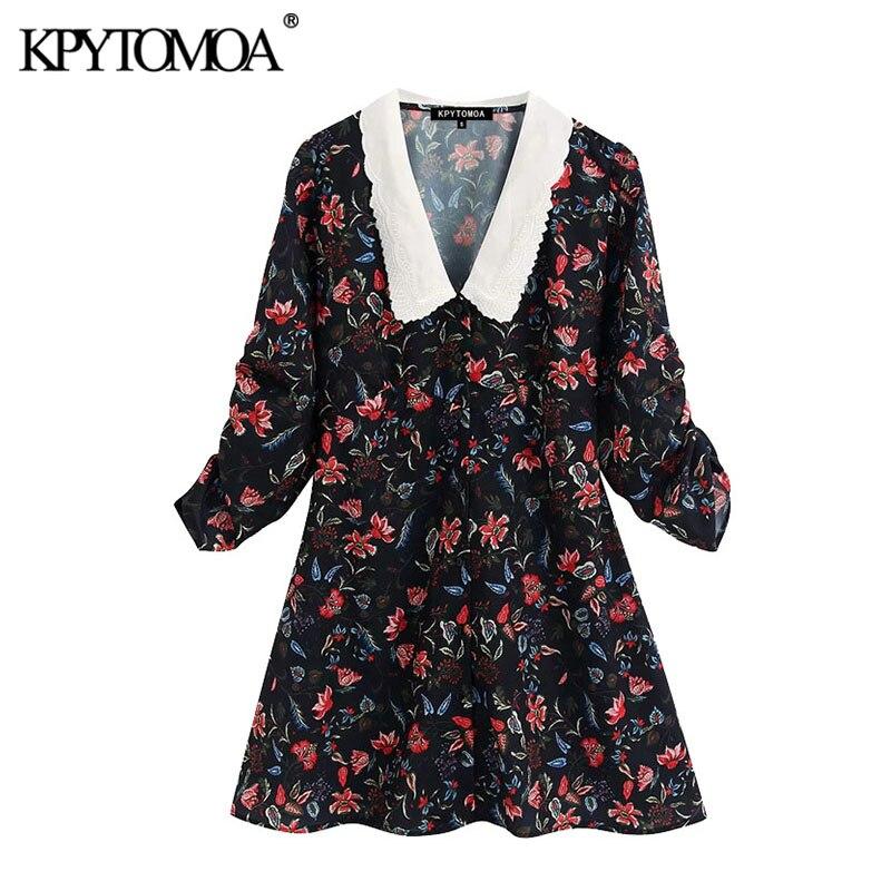 KPYTOMOA Women 2020 Sweet Fashion Floral Print Mini Dress Vintage Embroidery Collar Pleated Sleeve Female Dresses Vestidos Mujer