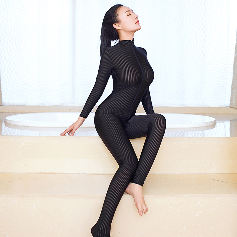 Smooth Fiber 2 Zipper Long Sleeve Jumpsuit anime See through Super Thin Hight Elastic Bodysuit Women Sexy Striped Sheer Jumpsuit
