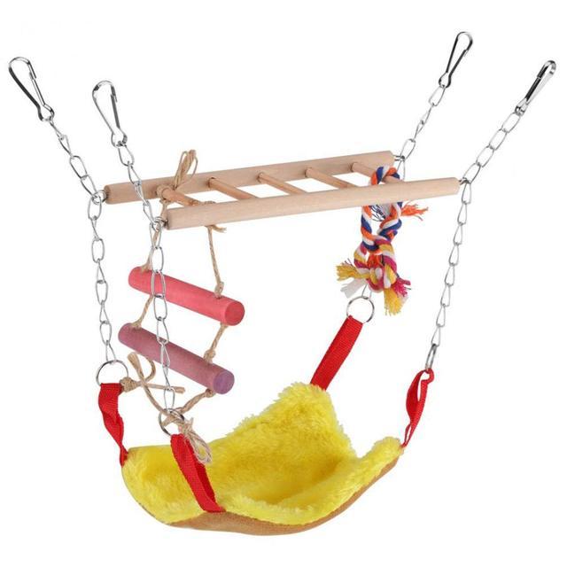 Bird Wood Climb Ladder Warm Hammock Hanging Bed for Parrot Budgie Parakeet Cockatiel Conure Lovebird Cage Perch 1