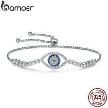 BAMOER yüksek kalite 100% 925 ayar gümüş mavi göz tenis bilekliği kadınlar Lace up Link zinciri bilezik gümüş takı SCB034