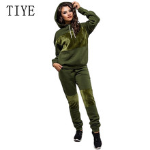 TIYE Womens Fashion Sports and Leisure Hooded Set 2 Pieces Sets Warm Jumpsuit Long Sleeve Autumn Casual Streetwear Overalls