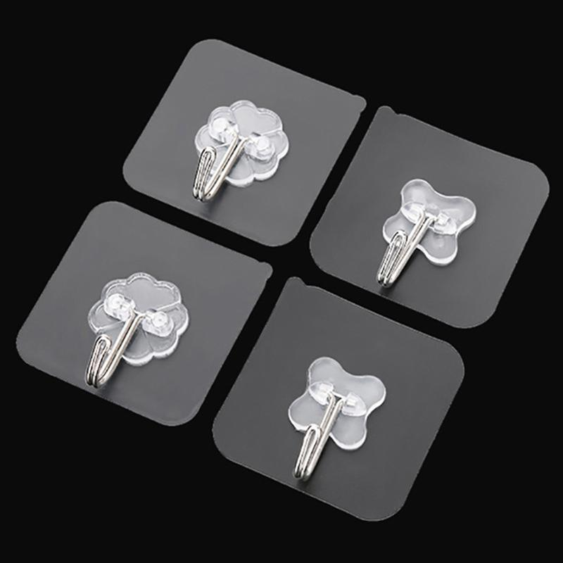 10 Pcs Wall Hooks Transparent Reusable Seamless Hooks Waterproof Self Adhesive Hooks For Home Bathroom Kitchen