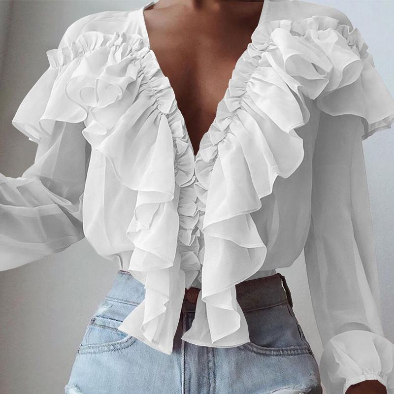 S-5XL Women Fashion Blouse Celmia 2020 Summer Spring Long Sleeve Ruffles Sexy Deep V-Neck Elegant Office Party Blusas Clothes 7