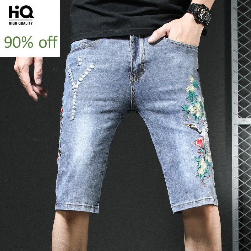 Summer 2020 Embroidery Dragon Denim Shorts Men Vintage Personalized Stretch Frayed Knee-Length Jeans Fashion Straight Hot Pants