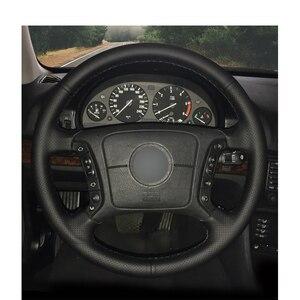 Image 2 - Zwart Pu Kunstleer Diy Auto Stuurhoes Voor Bmw E36 1995 2000 E46 1998 2004 E39 1995 2003 X3 E83 X5 E53 2000 2006