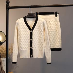 Image 3 - 2020 Knitted Two Piece Set Women Elegant Sweater Cardigan + Mini bodycon Skirt Set Suit Matching Sets ensemble femme 2 piece set