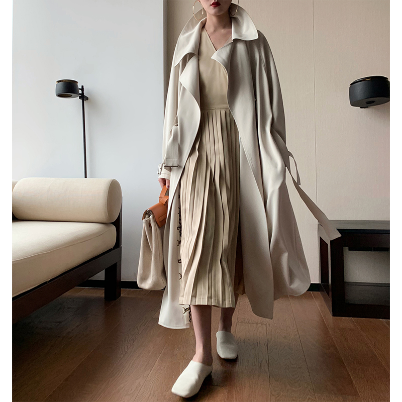 The new British style workwear casual knee-length loose trench coat coat women