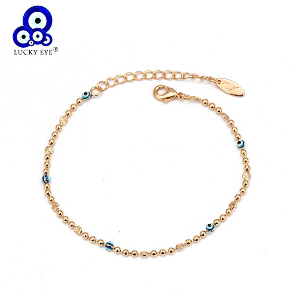 Lucky Eye Blue Turkish Evil Eye Anklet Gold Silver Color Bead Foot Chain Ankle Bracelet Adjustable for Women Girls Jewelry BD319