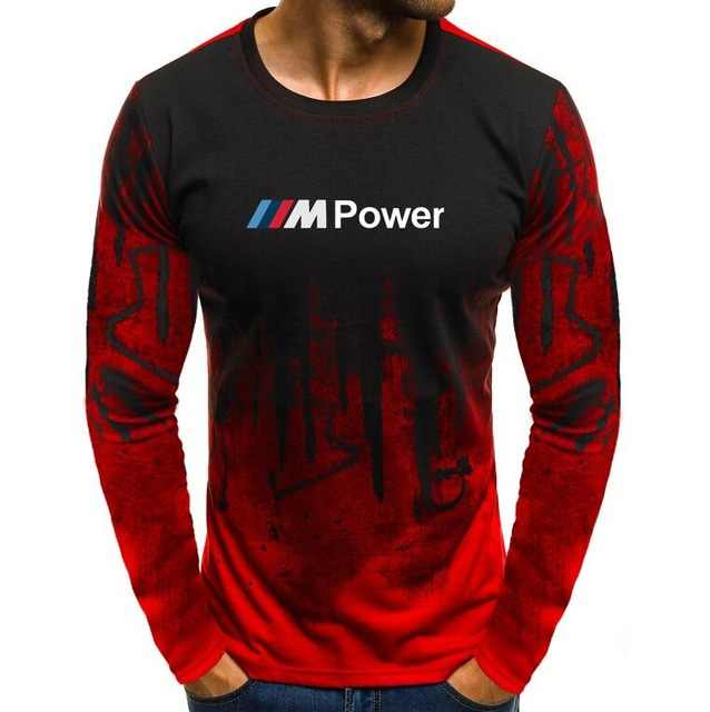Musim Gugur Lycra Katun Pria T-shirt Motorsport untuk BMW M Power Cetak T Kemeja Kamuflase Kasual Panjang Lengan Tshirt pria