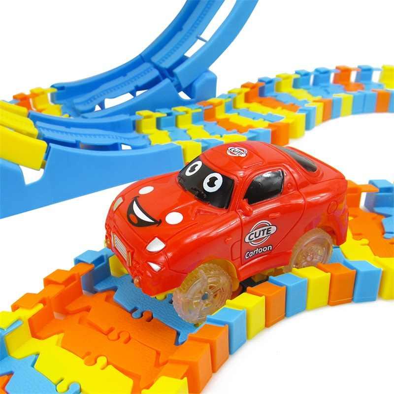 Untuk Anak Laki-laki Keren Hadiah Terbaik Baru 88 Pcs Track Blok Bangunan Mobil Mainan Pendidikan DIY Berubah Diri Dirakit Bangunan blok Batu Bata