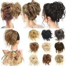 SARLA Fake Hair Flexible Messy Bun Chignon Elastic Band For Hair Bun Scrunchy Synthetic Extenion Curly Hairpiece Donut Afro Hair