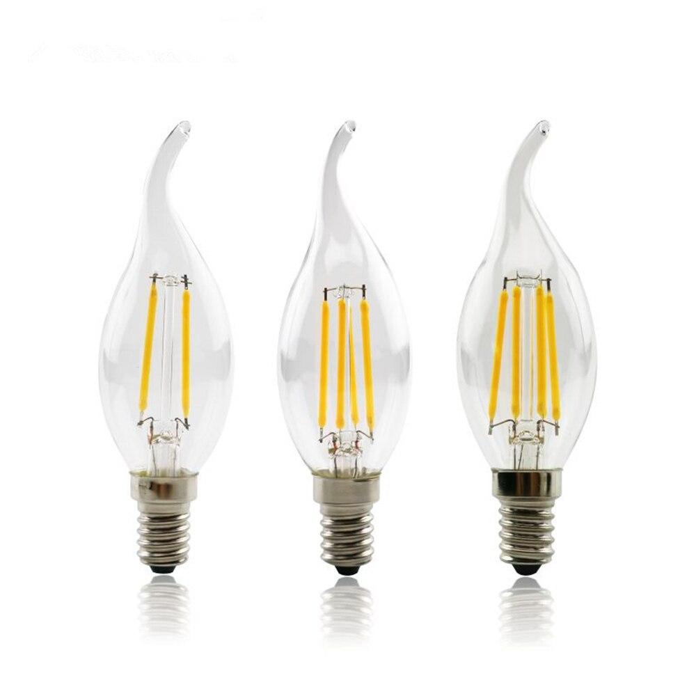 4W 8W 12W E14 LED Filament Lamp Glass COB Chips Bulb 220V Retro Edison Candle For Chandelier Lights Lighting