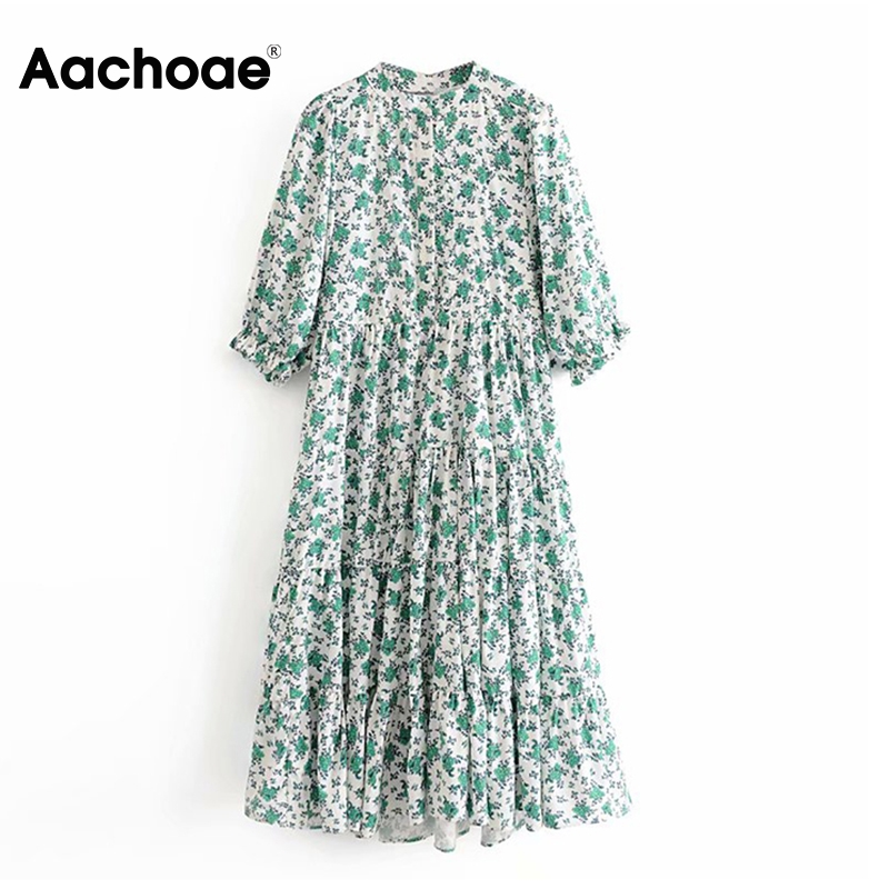 Aachoae Floral Print Dress Women Stand Collar Pleated Midi Dresses Lady Petal Half Sleeve Female Vintage Dress Loose Vestidos