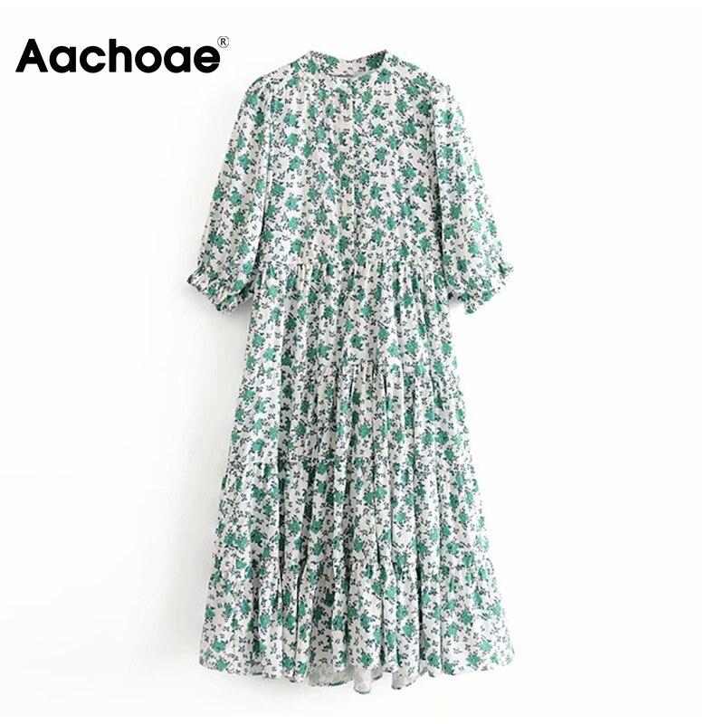 Aachoae Floral Print Dress Women Stand Collar Pleated Midi Dresses Lady Petal Half Sleeve Female Vintage Dress Loose Vestidos