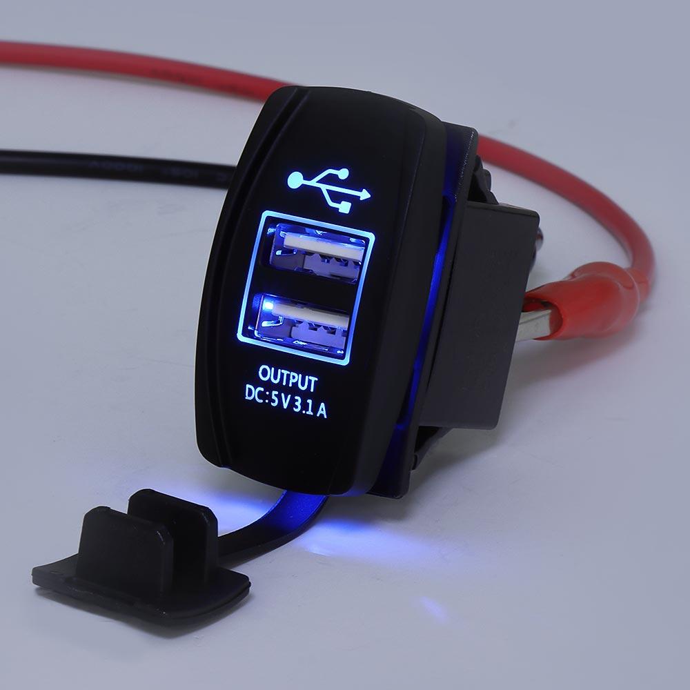 12-24V Blue LED USB Charger Backlight Rocker Switch For Polaris RZR Ranger 900 1000 RZR900 For John Deere Gator XUV For Kawasaki